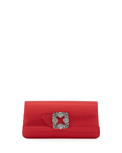Gothisi Satin Buckle Clutch Bag, Red
