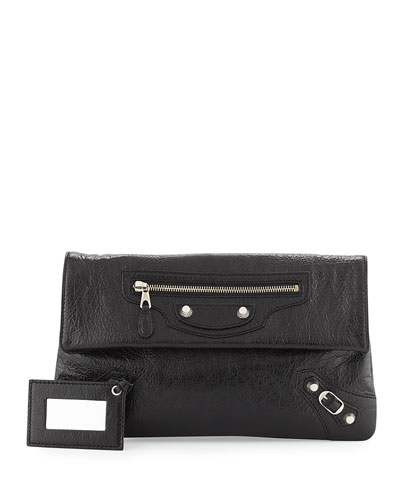 Giant 12 Lambskin Envelope Crossbody Bag, Black