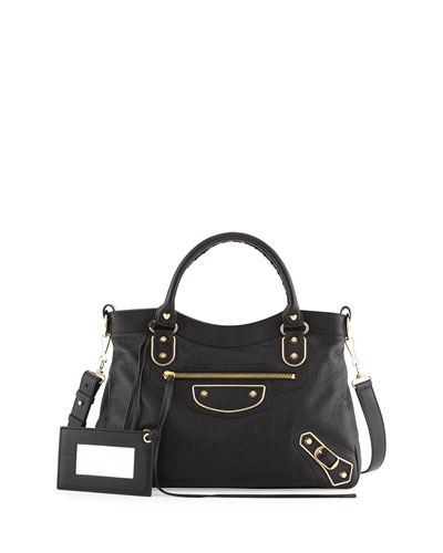 Edge Town Goatskin Satchel Bag, Black
