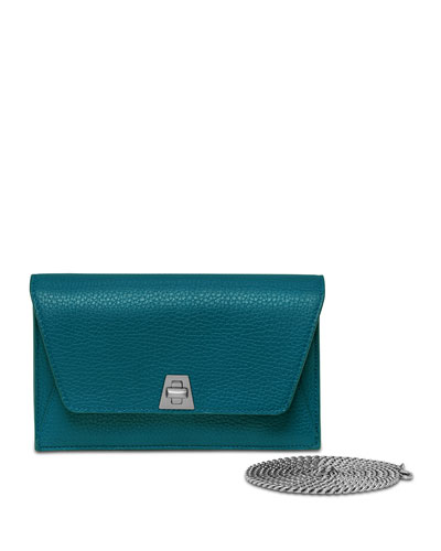Anouk Leather Clutch Bag, Deep Petrol