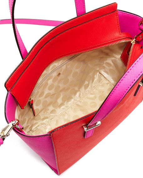 cedar street small hayden tote bag, cherry/vivid snapdragon