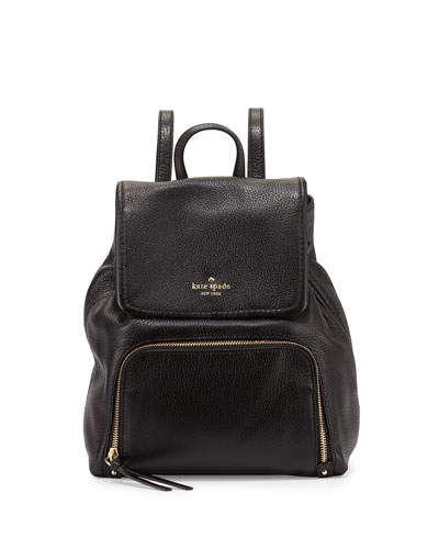 cobble hill charley leather backpack, black