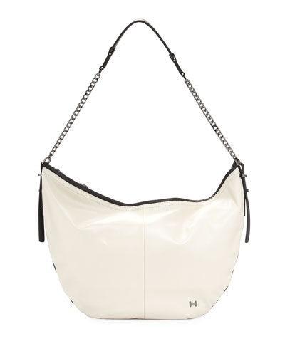 Two-Tone Leather Hobo Bag, Dark Bone