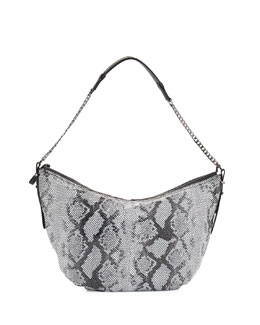 Snakeskin-Embossed Leather Hobo Bag, Black Multi