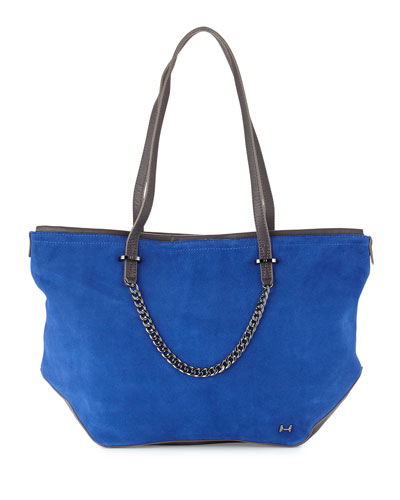 Leather & Suede Tote Bag, Cobalt Multi