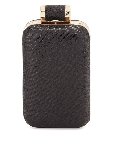 Leather Sparkle Evening Minaudiere, Black