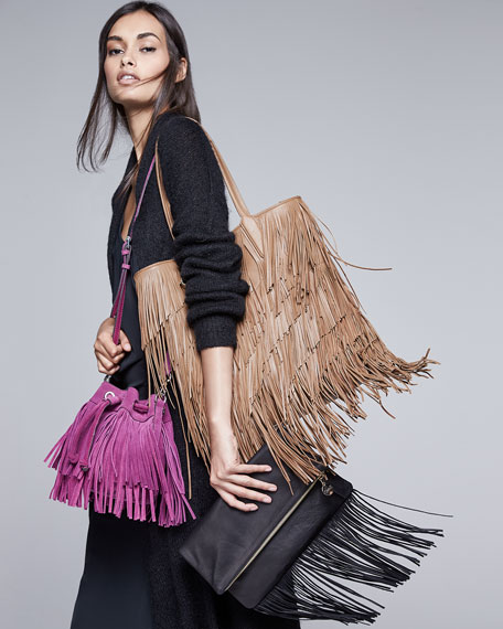 Fringe Fold-Over Clutch Bag, Black Velvet