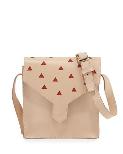 Margot Leather Cutout Shoulder Bag, Natural