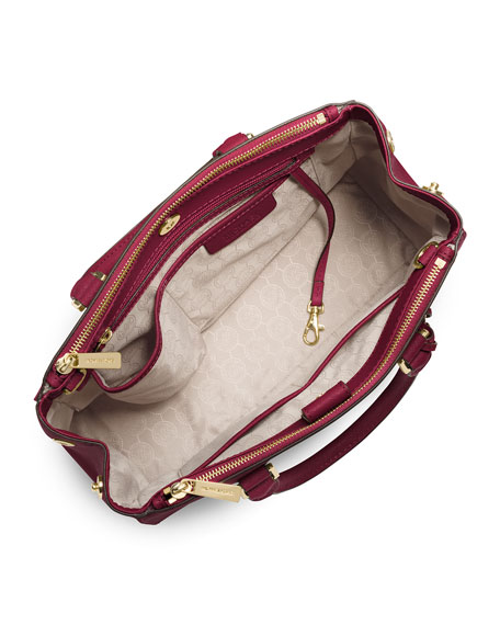 Sutton Medium Saffiano Satchel Bag, Cherry