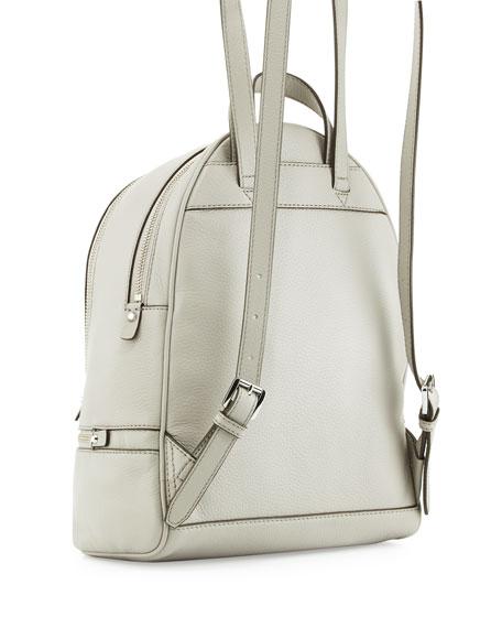 Rhea Small Zip Backpack, Pearl Gray