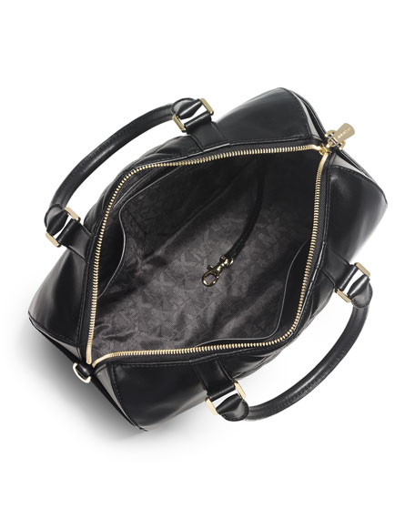 Grayson Quilted Medium Satchel Bag, Black