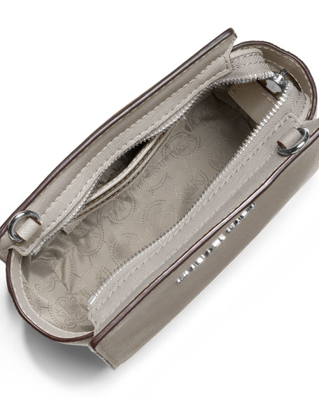 Selma Mini Saffiano Messenger Bag, Pearl Gray