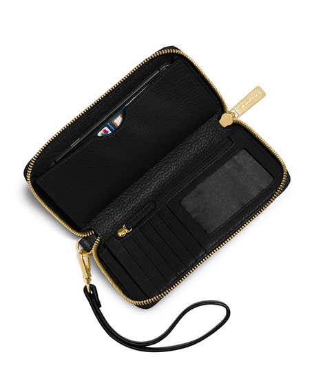 Fulton Large Flat Multifunction Phone Wallet, Black