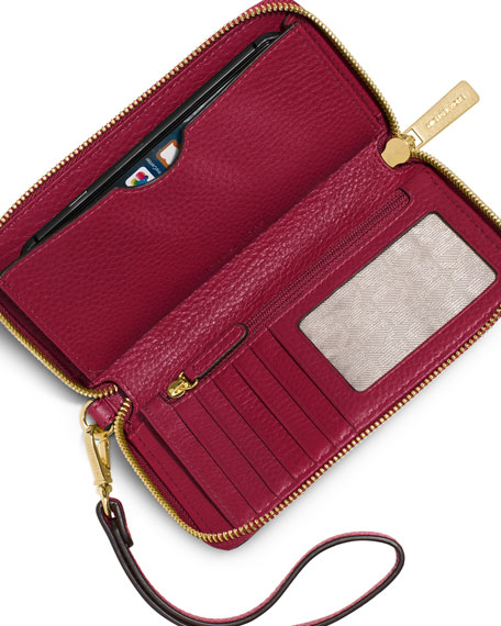 d882e6f4b084 MICHAEL Michael Kors Fulton Large Flat Multifunction Phone Wallet, Cherry