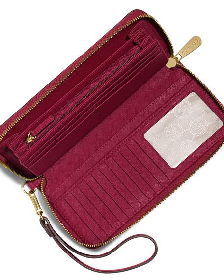 Michael Michael Kors Jet Set Travel Leather Continental Wallet: MICHAEL Michael Kors Jet Set Travel Continental Wallet, Cherry