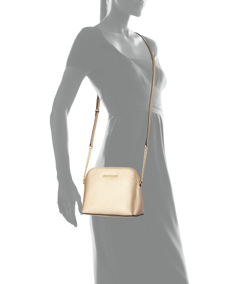 Cindy Large Dome Crossbody Bag, Pale Gold