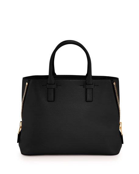 TOM FORD Jennifer Small Trap Leather Tote Bag, Black