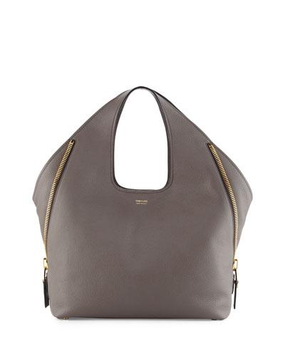 Jennifer Side-Zip Medium Leather Hobo Bag, Dark Gray