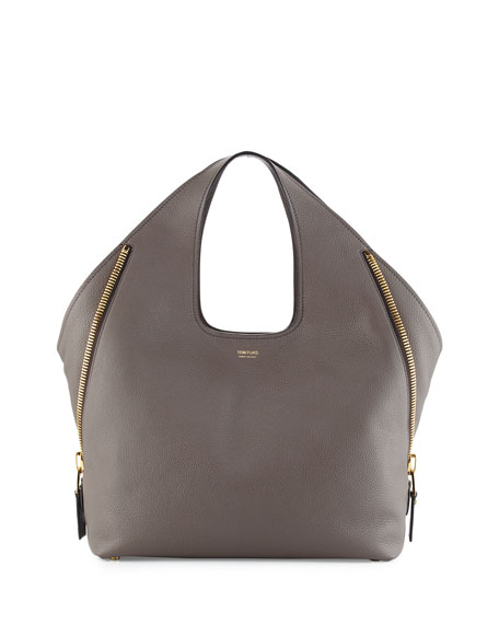 TOM FORD Jennifer Side-Zip Medium Leather Hobo Bag,