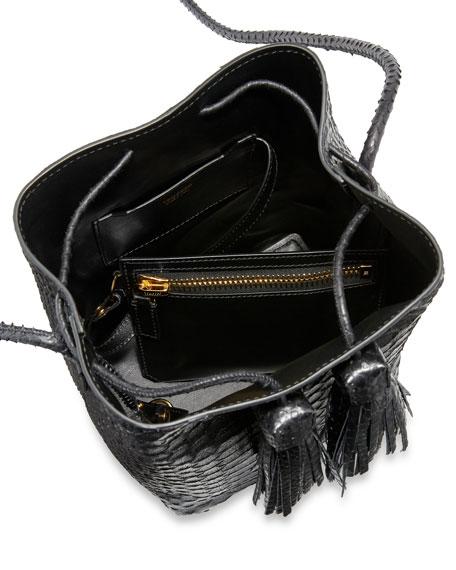 Small Python Tassel Bucket Bag, Black