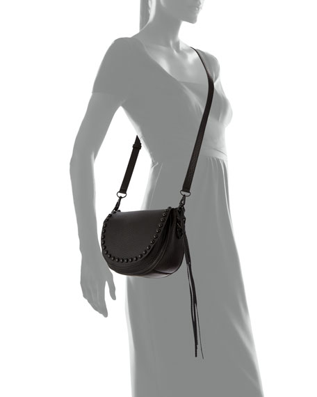 Pebbled Leather Studded Saddle Bag, Black
