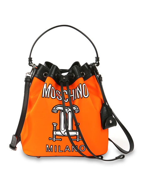 Logo-Print Nylon Bucket Bag, Orange