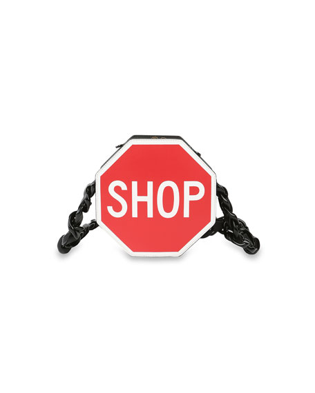 """""""SHOP"""" Stop Sign Shoulder Bag, Black/Red"""