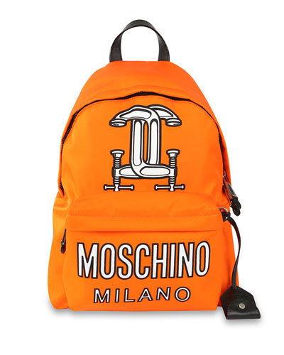Logo-Print Tech-Fabric Backpack, Orange