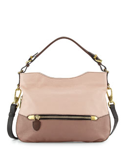 Ellie Leather Hobo Bag, Misty Rose