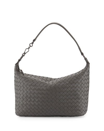 Small Intrecciato Shoulder Bag, Light Gray