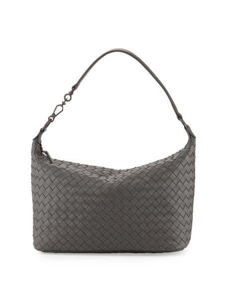 Bottega Veneta Small Intrecciato Shoulder Bag, Light Gray