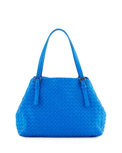 Bottega Veneta Intrecciato Medium A-Shaped Tote Bag, Cobalt