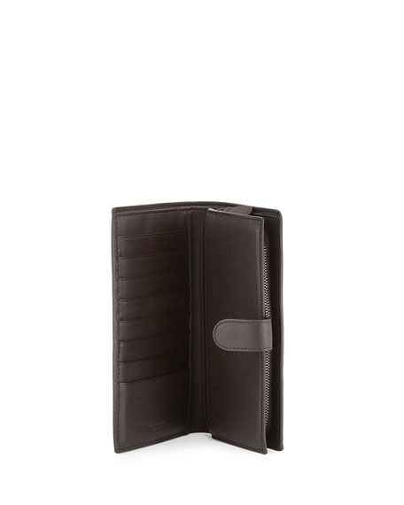 Intrecciato Lambskin Continental Wallet, Dark Brown