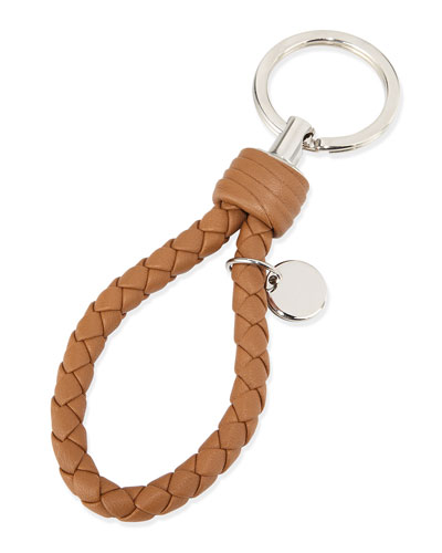 Intrecciato Lambskin Key Ring, Camel