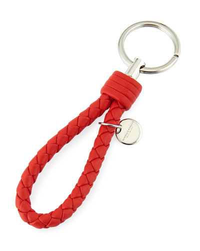 Intrecciato Lambskin Key Ring, Red