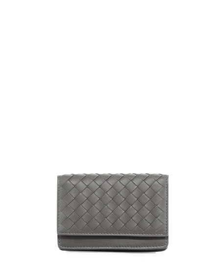 Bottega Veneta Woven Flap Credit Card Case, Light