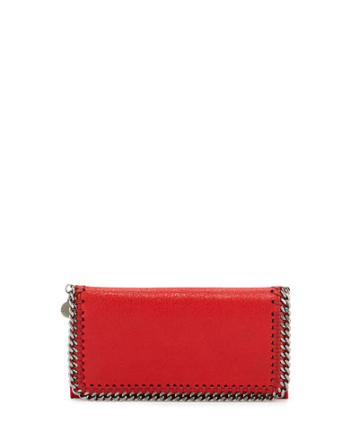 Falabella Chain Flap Wallet, Cherry