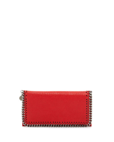 Stella McCartney Falabella Chain Flap Wallet, Cherry