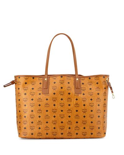 Liz Reversible Large Visetos Tote Bag, Cognac