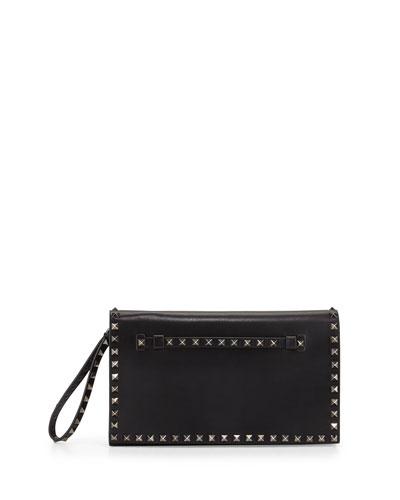 Rockstud Leather Full-Flap Wristlet Clutch Bag, Black (Noir)