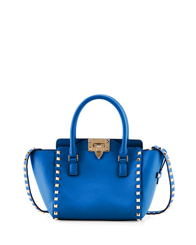 Rockstud Micro Leather Tote Bag, Light Sapphire