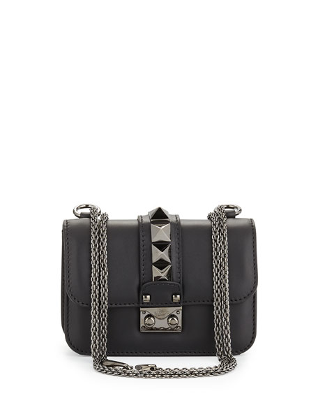 Valentino Lock Half-Flap Small Shoulder Bag, Black