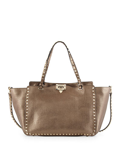 Rockstud Metallic East-West Tote Bag, Pewter