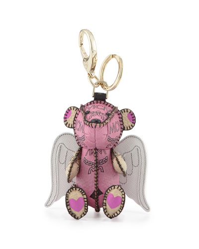 Visetos 3D Bear Charm Key Ring w/Angel Wings, Pink/Beige