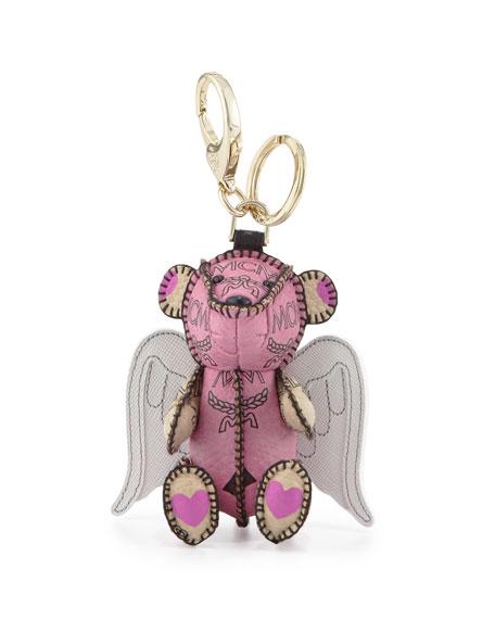 MCM Visetos 3D Bear Charm Key Ring w/Angel