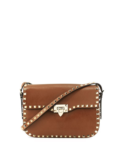Rockstud Leather Flap Shoulder Bag, Nocciolo