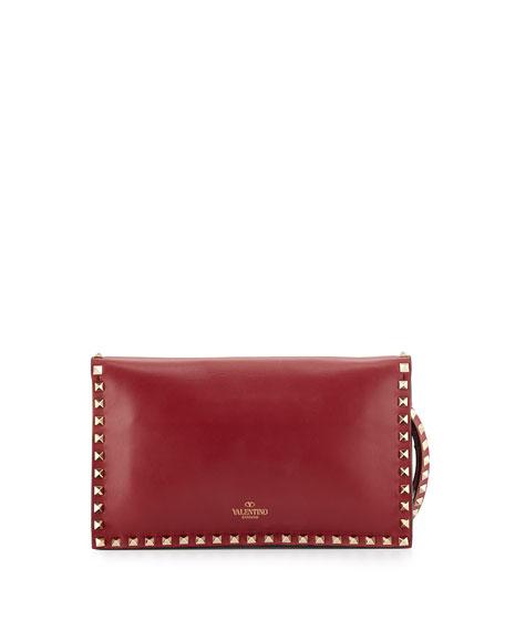 Valentino Garavani Rockstud Flap Wristlet Clutch Bag, Scarlet