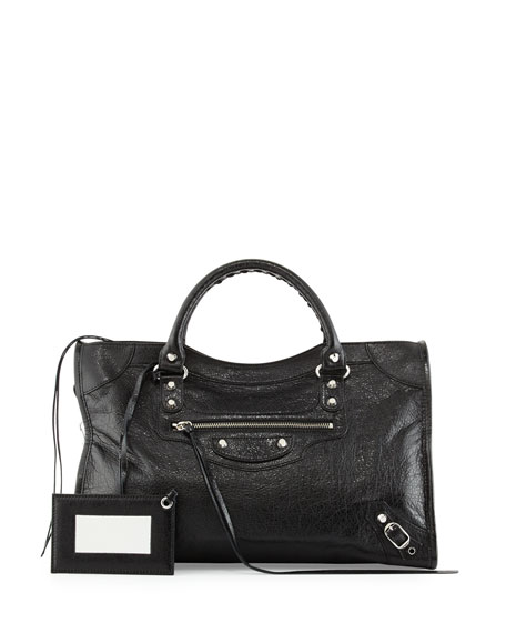 Balenciaga Classic Nickel City Bag, Black