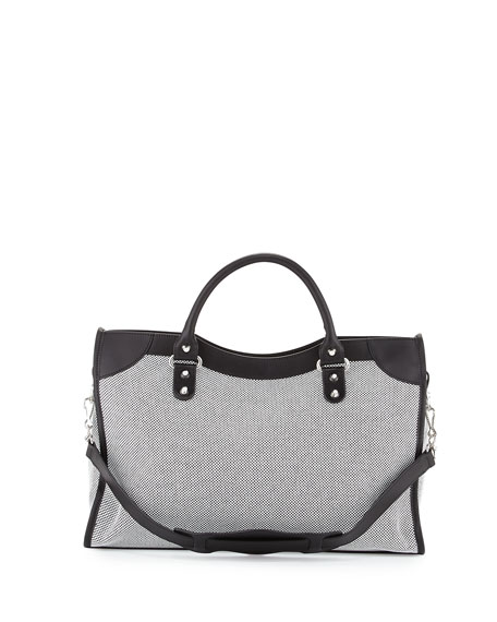 Classic City Perforated Twill Bag, Black/White