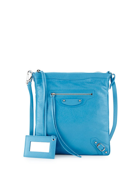 Balenciaga Classic Flat Crossbody Bag, Bright Blue